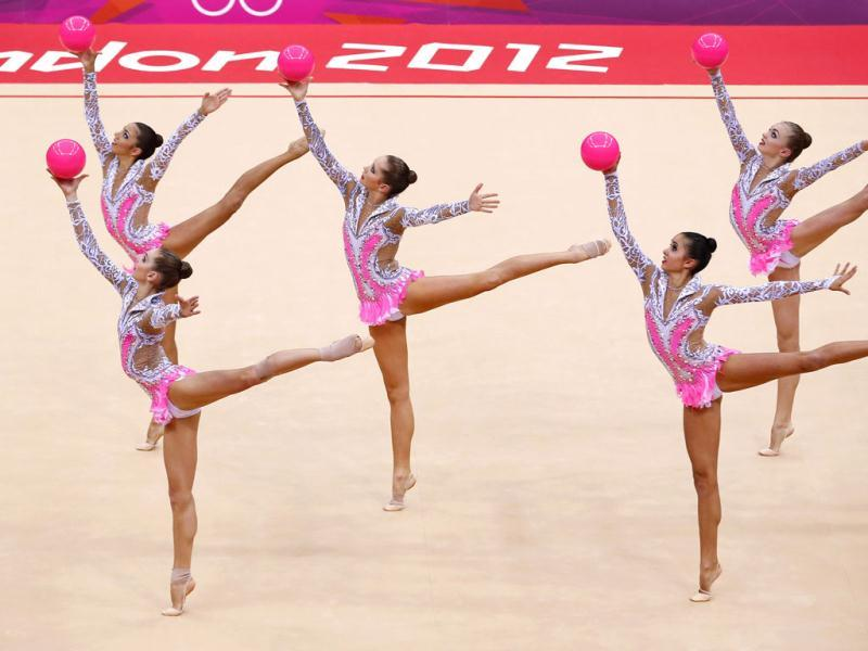 The Russia team compete in their group all-around gymnastics final match at the Wembley Arena during the London 2012 Olympic Games. Reuters/Mike Blake