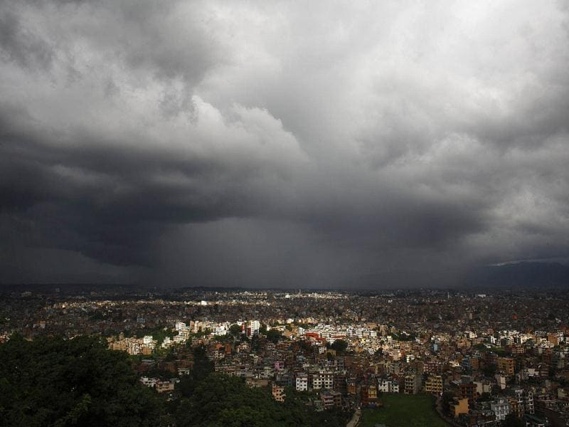 Monsoon clouds loom over the Kathmandu skyline. The monsoon season in Nepal typically last from June to August. REUTERS