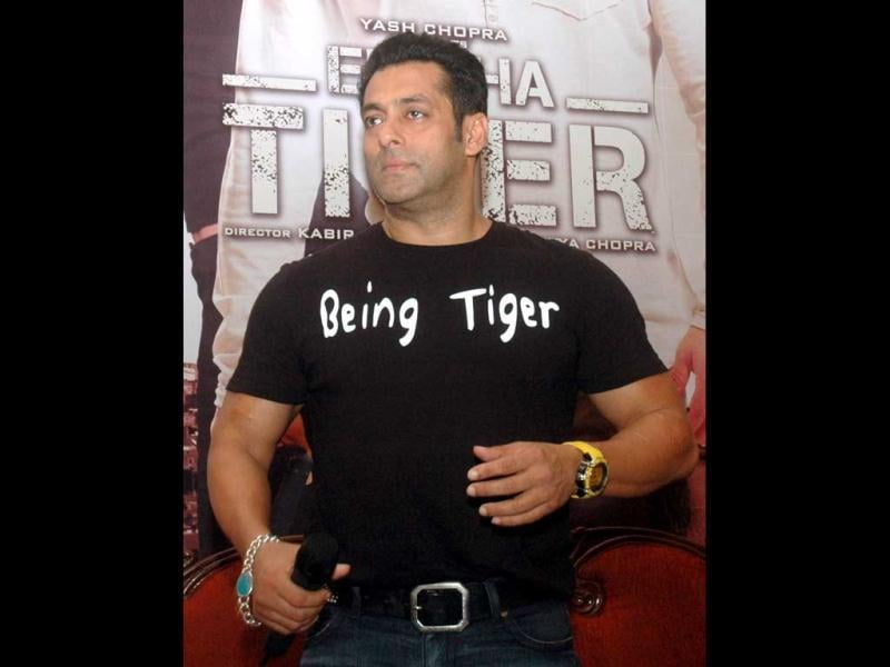 Bollywood actor Salman Khan promoting his film Ek Tha Tiger in Lucknow.