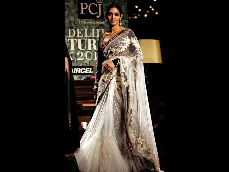Sabyasachi closed the third edition of PCJ Delhi Couture Week with Sridevi as the showstopper.