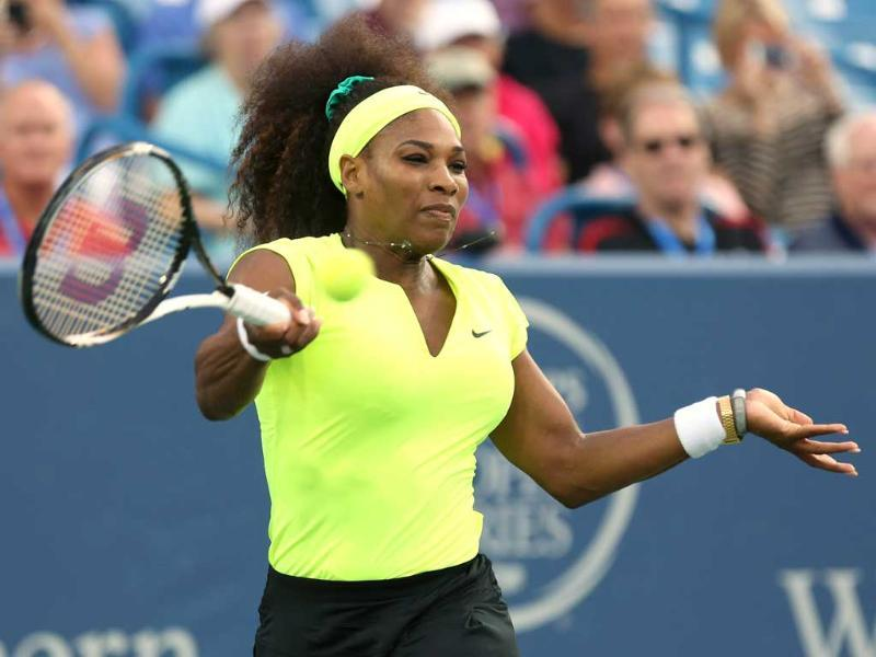 Serena Williams hits a forehand against Eleni Daniilidou of Greece during day four of the Western & Southern Open at Lindner Family Tennis Center in Mason, Ohio. AFP/Nick Laham