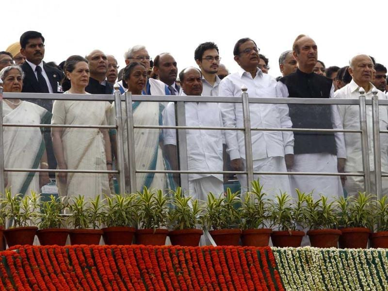 UPA Chairperson Sonia Gandhi seen with other cabinet Minister at the Historic Red Fort on 66th Independence Day celebrations in Delhi . (Vipin Kumar/Hindustan Times)