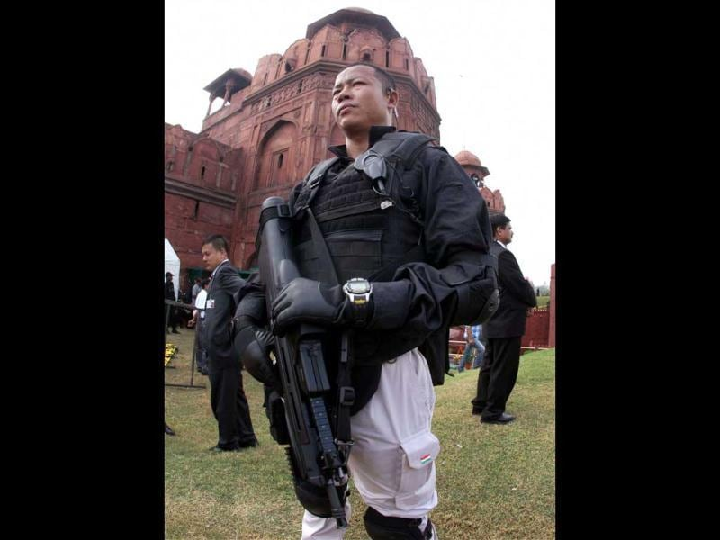 An armed commando stands guard during 66th Independence Day function at Red Fort in New Delhi. (PTI/Kamal Kishore)