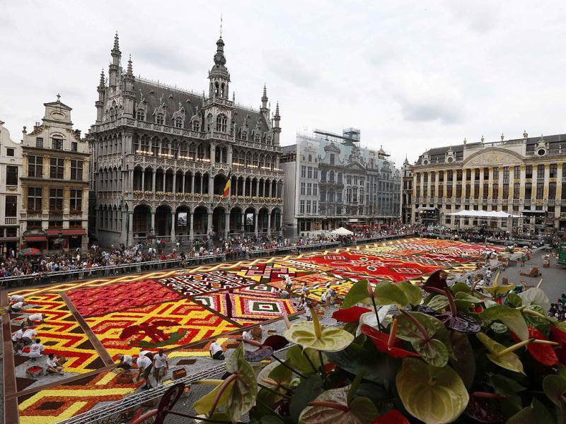Gardeners work on a giant carpet made of flowers to form a floral decoration at Brussels' Grand Place. Reuters photo/Francois Lenoir