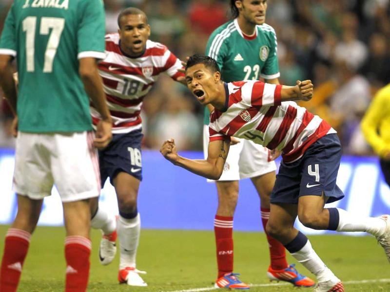 US' Michael Orozco (C) celebrates his a goal during the second half of their soccer friendly match against Mexico at Azteca stadium in Mexico City. Reuters/Edgard Garrido