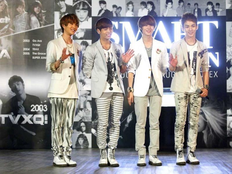 K-Pop group Shinee pose before the Smart Exhibition in Seoul. Reuters/Kim Hong-Ji