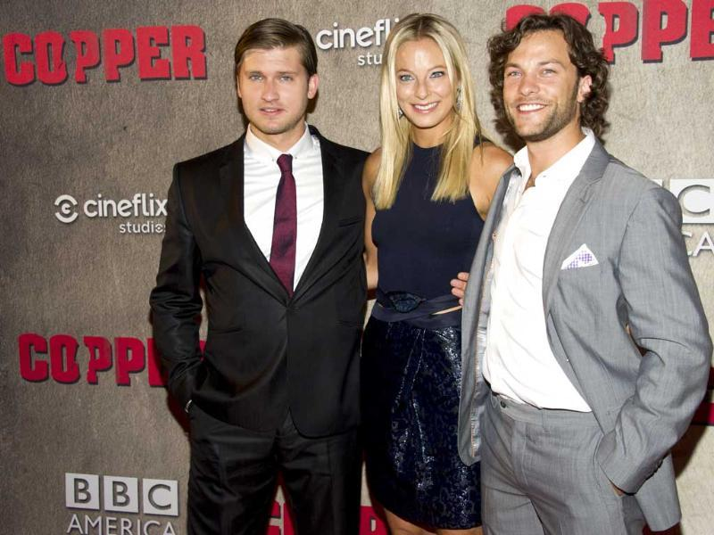 (Left to right) Tom Weston-Jones, Anastasia Griffith and Kyle Schmid attend the premiere of BBC America's Copper in New York. AP/Charles Sykes