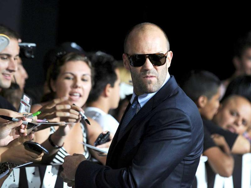 Cast member Jason Statham arrives at the film premiere of The Expendables 2 at Grauman's Chinese Theatre in Hollywood California. AFP/Robyn Beck