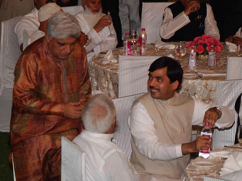Lyricist Javed Akhtar, RJD president Laloo Prasad Yadav and senior BJP leader Syed Shahnawaz Hussain at an Iftar Party at Prime Minister's residence in New Delhi.