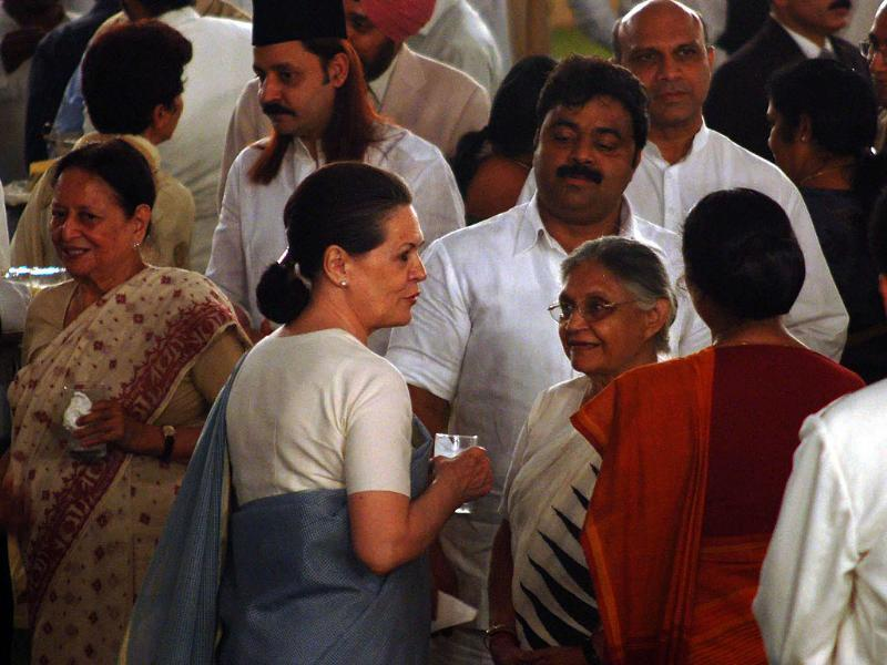 UPA chairperson Sonia Gandhi and Delhi chief minister Sheila Dikshit at an Iftar Party at Prime Minister's residence in New Delhi.
