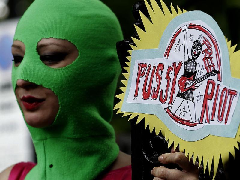 Supporters of the Russian punk rock band Pussy Riot protest outside the Russian Embassy in London.(AP Photo)