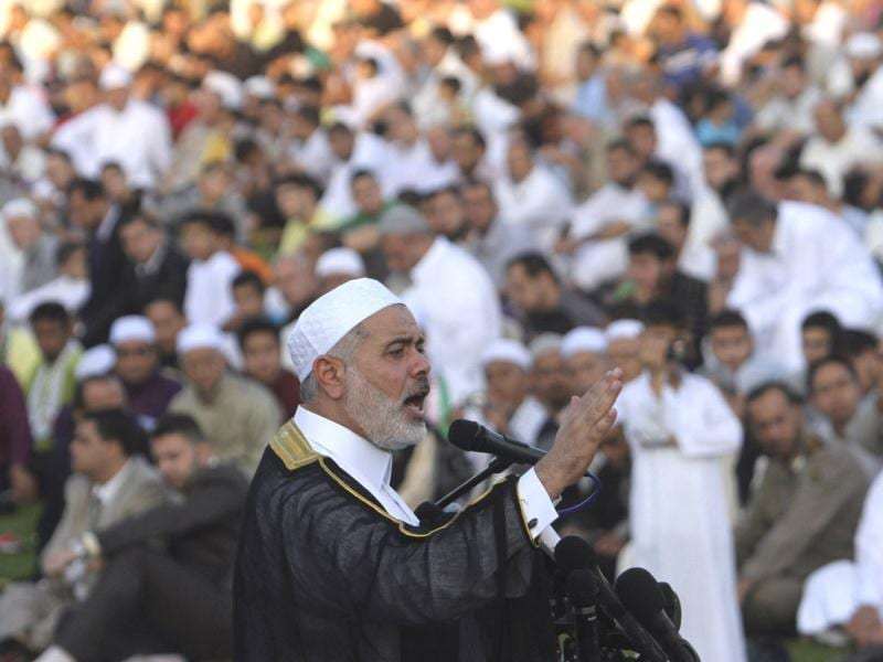 Senior Hamas leader Ismail Haniyeh gives a speech during Eid ul-Fitr prayers in Gaza City. (Reuters/Ibraheem Abu Mustafa)