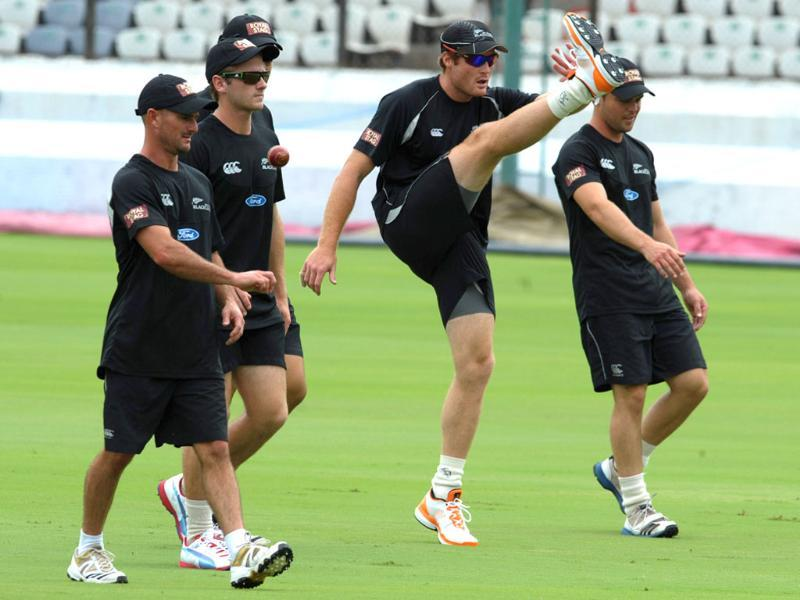 New Zealand cricketers warm up during a training session on the eve of first Test match against India at the Rajiv Gandhi International cricket stadium in Hyderabad. AFP/Noah Seelam