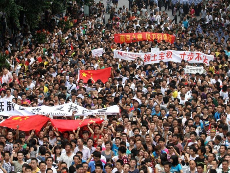 Chinese protesters marching in a demonstration in Chengdu, southwest China's Sichuan province against Japan's claim of the Diaoyu islands, as they are known in Chinese, or Senkaku islands in Japanese. AFP Photo