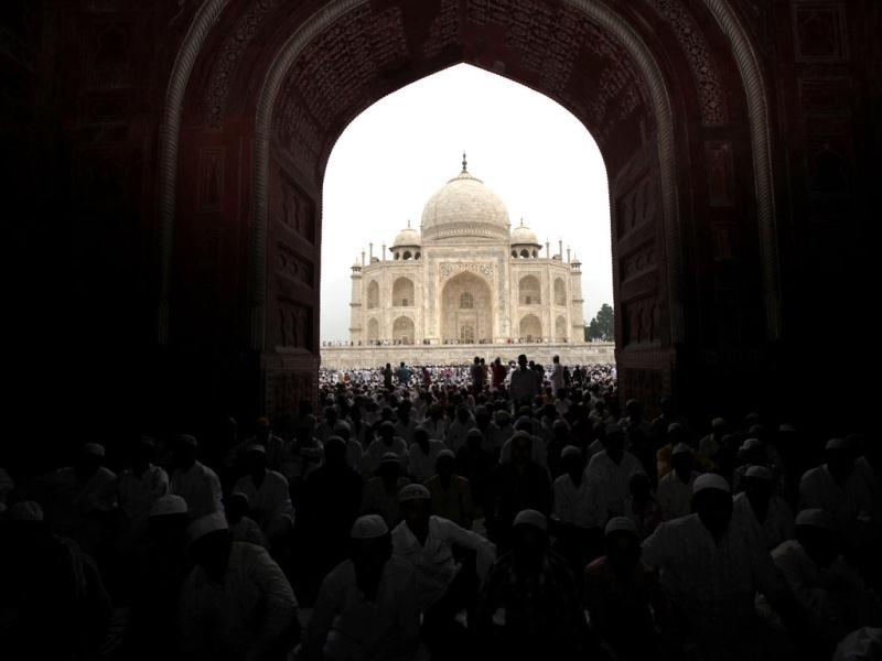 Muslims offer Eid al-Fitr prayer at Taj Mahal in Agra, marking the end of the holy fasting month of Ramadan. (AP Photo/Rajesh Kumar Singh)