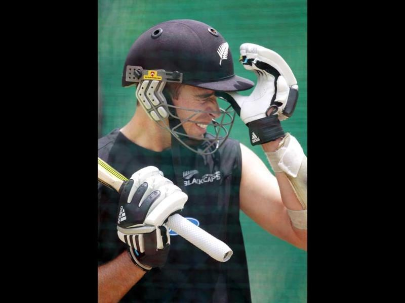 New Zealand cricketer Tim Southee reacts while bating during a practice session at Rajiv Gandhi International Cricket Stadium in Hyderabad. New Zealand and India will play the first of their two test cricket series in Hyderabad. AP/Mahesh Kumar A