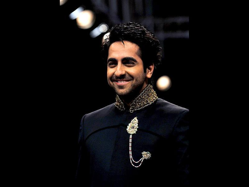 Actor and singer Ayushmann Khurrana also walked the ramp for jewellery designer Preeti at the IIJW 2012. (AFP Photo)