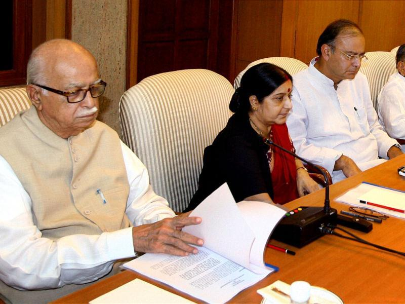 BJP leaders LK Advani, Sushma Swaraj, Arun Jaitley, Samajwadi Party President Mulayam Singh Yadav and party leader Ram Gopal Yadav at all-party meeting in New Delhi on Tuesday to discuss the issue of giving reservation in job promotions to Scheduled Castes (SCs) and Scheduled Tribes (STs). PTI Photo by Kamal Kishore