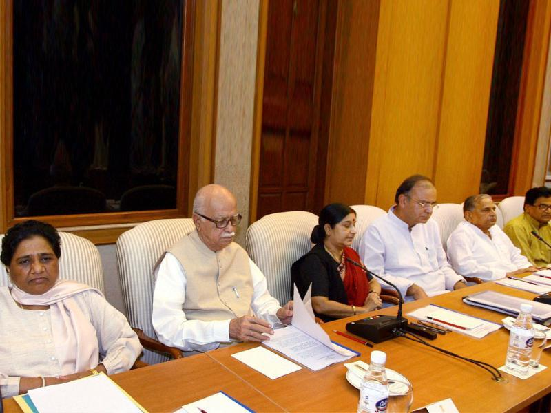 BJP leaders LK Advani, Sushma Swaraj, Arun Jaitley, BSP chief Mayawati, Samajwadi Party President Mulayam Singh Yadav and party leader Ram Gopal Yadav at all-party meeting in New Delhi on Tuesday to discuss the issue of giving reservation in job promotions to Scheduled Castes (SCs) and Scheduled Tribes (STs). PTI Photo by Kamal Kishore