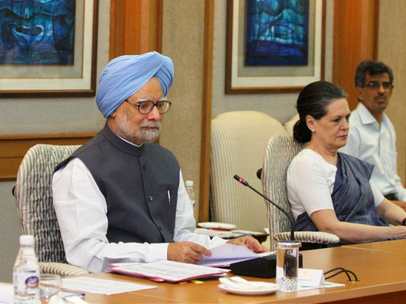 Prime Minister Manmohan Singh chairs an all-party meeting in New Delhi to discuss the issue of giving reservation in job promotions to Scheduled Castes (SCs) and Scheduled Tribes (STs). Also seen in the picture are UPA chairperson Sonia Gandhi (R) and Finance Minister P Chidambaram. PTI Photo by Kamal Kishore