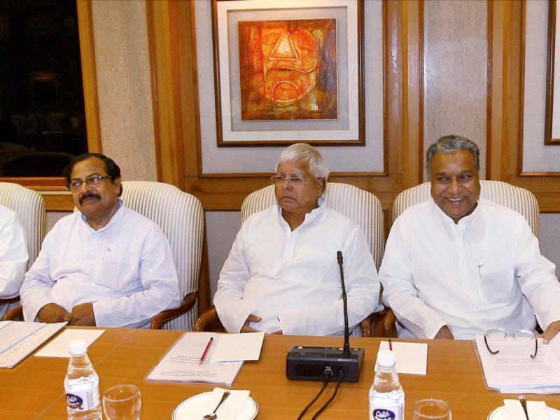RJD chief Lalu Prasad, party leader PC Gupta (2nd R), CPI's D Raja (R) and other leaders at all-party meeting in New Delhi to discuss the issue of giving reservation in job promotions to Scheduled Castes (SCs) and Scheduled Tribes (STs). PTI Photo by Kamal Kishore