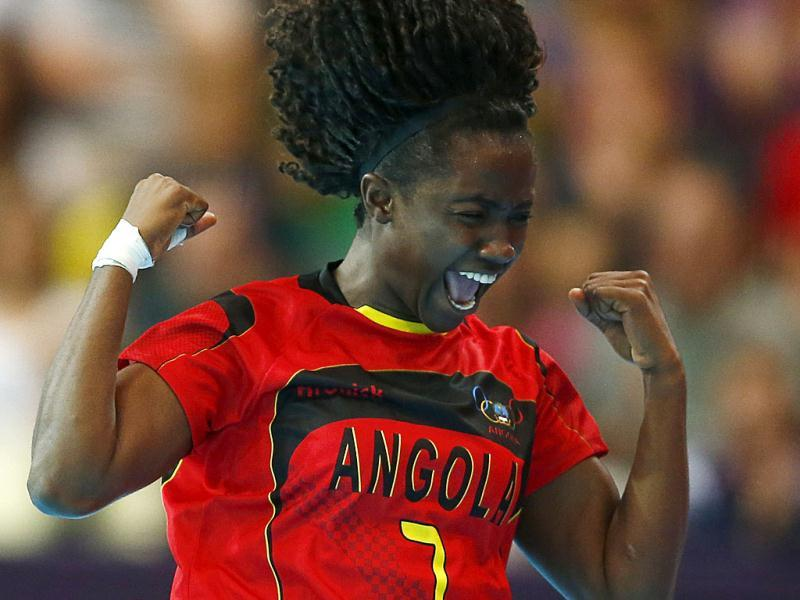 Angola's Carolina Morais celebrates a goal against Montenegro in their women's handball Preliminaries Group A match at the Copper Box venue during the London 2012 Olympic Games. Reuters photo Photo