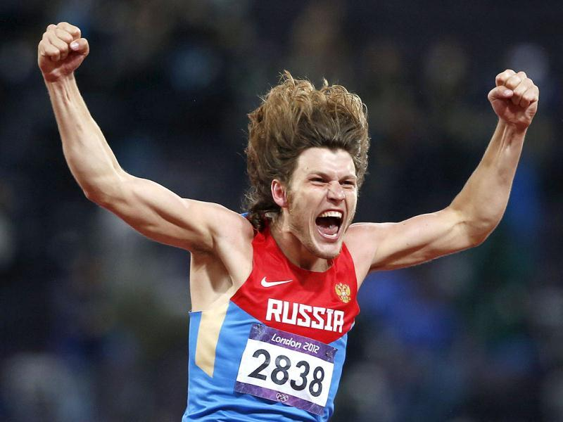 Russia's Ivan Ukhov reacts after winning the men's high jump final during the London 2012 Olympic Games at the Olympic Stadium. Reuters Photo