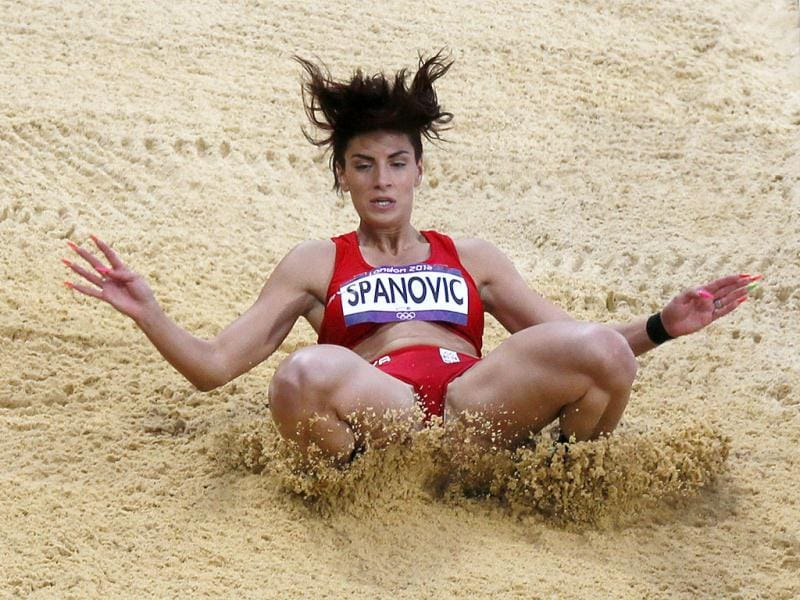 Serbia's Ivana Spanovic competes in her women's long jump qualification during the London 2012 Olympic Games at the Olympic Stadium. Reuters Photo