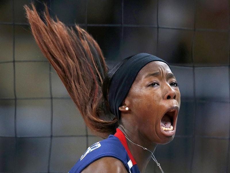Destinee Hooker of the US celebrates a point against Brazil during their women's gold medal volleyball match at Earls Court during the London 2012 Olympic Games. Reuters Photo