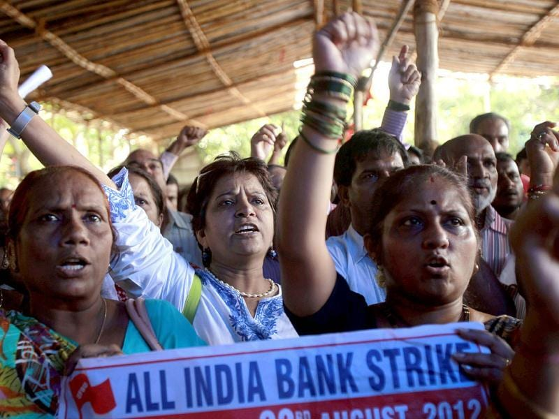 Bank employees shouts slogans during a two-day strike in Mumbai. Employees of public sector banks began a two-day nationwide strike to protest against banking sector reform proposals. AP Photo/Rafiq Maqbool