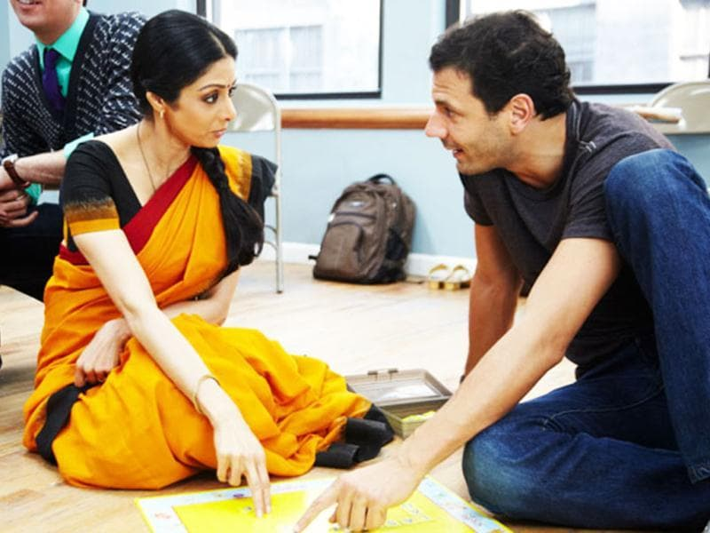 Sridevi trying to learn the ropes.
