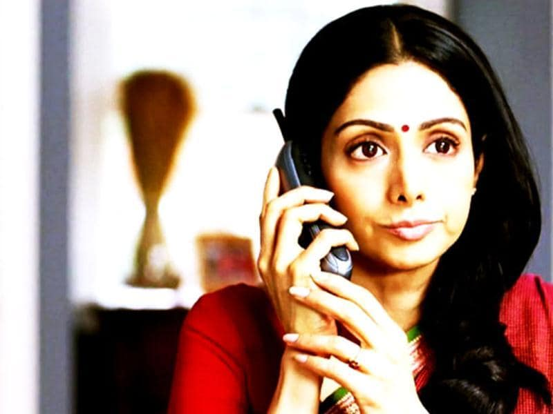 Sridevi looks nervous in a still from English Vinglish.
