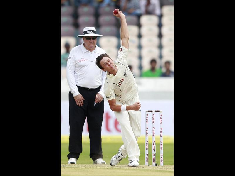 New Zealand's Trent Boult bowls during the first day of the first cricket test match against India in Hyderabad. (AP Photo/Mahesh Kumar A.)