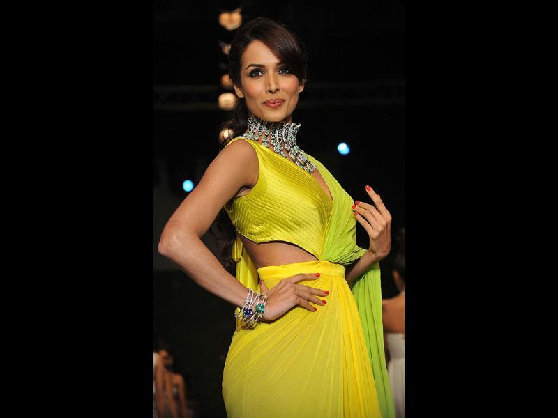 Malaika Arora Khan showcases jewellery designer KGK Entice Jewels creations at the event. (AFP Photo)