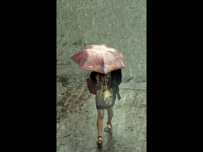 A pedestrian walks with an umbrella as it rains in New Delhi. The monsoon rains were 2% below average in the week to August 22. AFP Photo/Prakash Singh