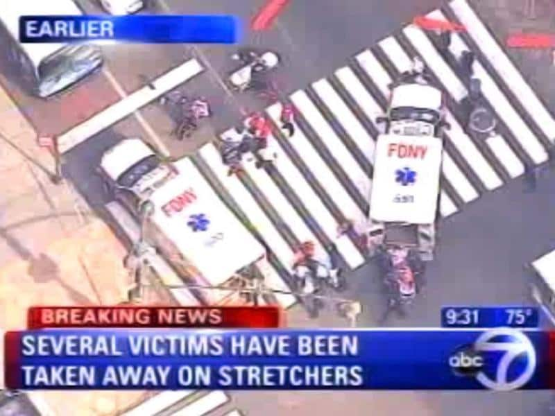 In this frame grab from WABC-TV, emergency personnel respond to reports of several people being shot outside the Empire State Building, in New York. Authorities say the shooter is dead. AP photo