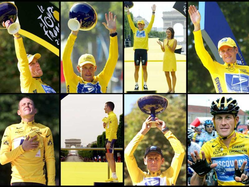 This series of photos shows seven file pictures clockwise from upper left taken in 2005, 2004, 2003, 2002, 2001, 2000 and 1999 of US cyclist Lance Armstrong posing on the podium on the Champs-Elysees in Paris after winning the Tour de France cylcing race. AFP photo
