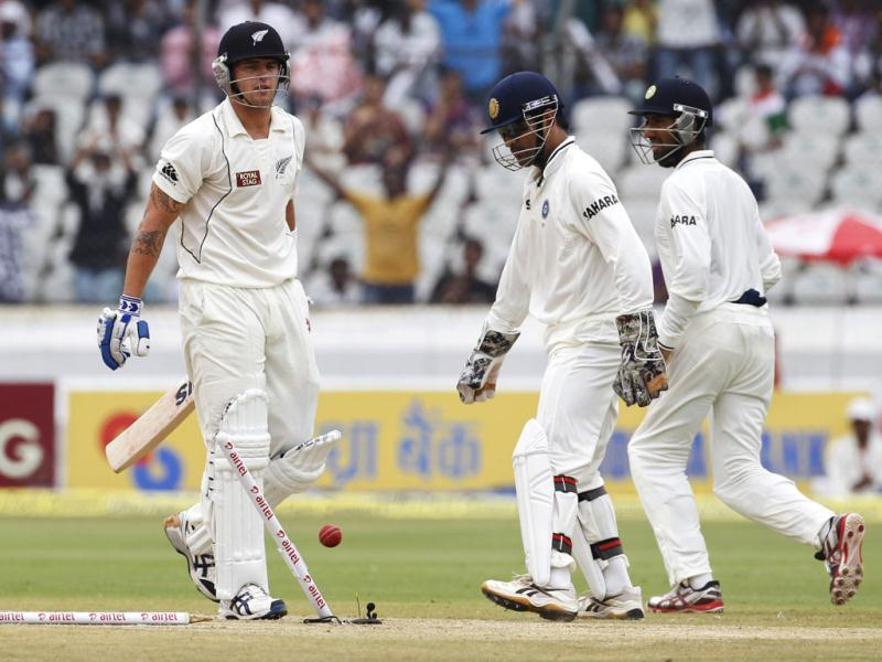 New Zealand's Doug Bracewell looks back at the wickets as he is stumped by India's captain Mahendra Singh Dhoni during the third day of their first test cricket match in Hyderabad. Reuters/Vivek Prakash