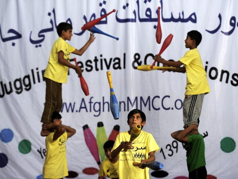 Young jugglers preform during the 7th Afghanistan Juggling Championships in Kabul. AFP Photo/Jose Cabezas