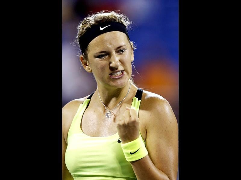 Victoria Azarenka, of Belarus, reacts after returning a shot to Alexandra Panova, of Russia, in a match at the US Open tennis tournament in New York. AP/Darron Cummings