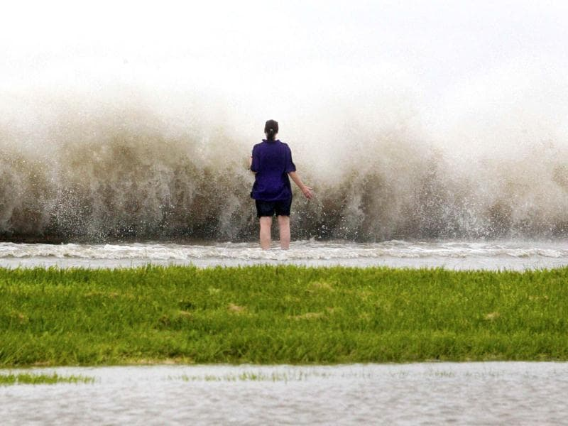 New Orleans resident Diana Whipple stands on the shore of Lake Pontchartrain as hurricane Isaac approaches New Orleans, Louisiana. Reuters Photo