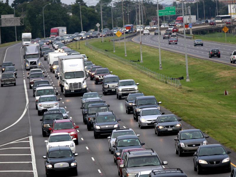 A line of traffic extends down Interstate 10 heading towards Baton Rouge, as many residents leave the New Orleans area in anticipation of hurricane Isaac, which is expected to make landfall on the Louisiana coast as a hurricane, in Kenner, Louisiana. AP Photo