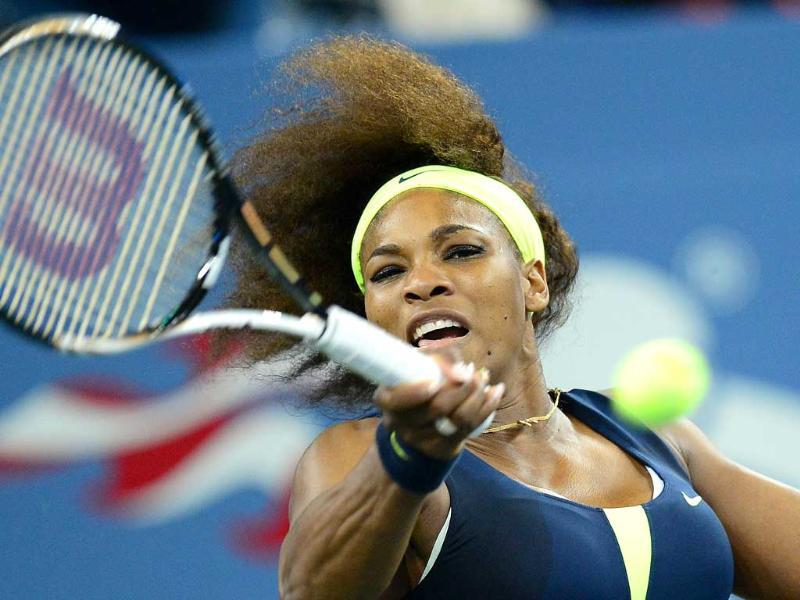 US' Serena Williams returns a point against Coco Vandeweghe of the US during their women's 2012 US Open match at the USTA Billie Jean King National Tennis Center in New York. AFP/Emmanuel Dunand