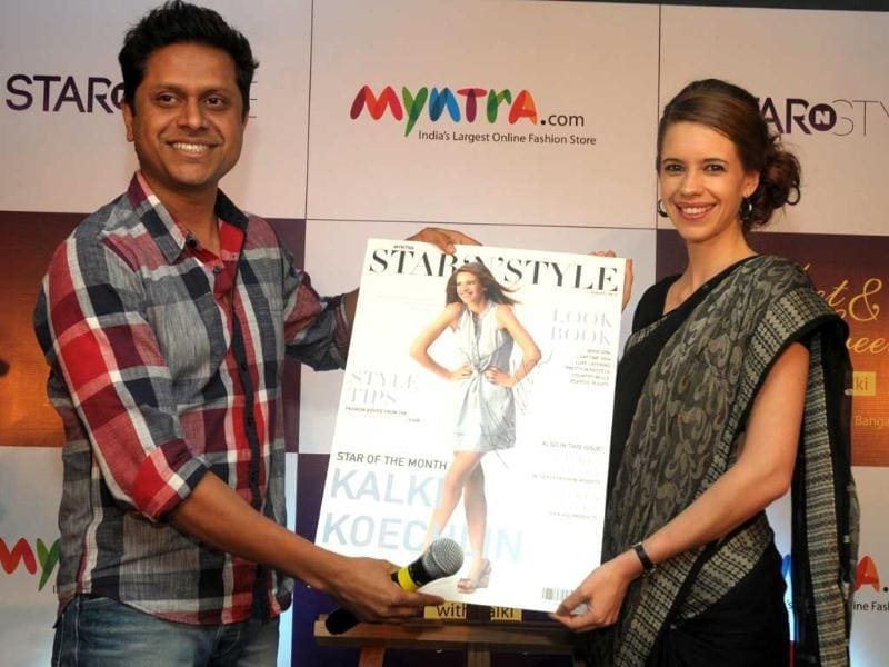 Bollywood actress Kalki Koechlin and Mukesh Bansal, Founder of Myntra.com at the launch of Star N Syle fashion store. (UNI Photo)