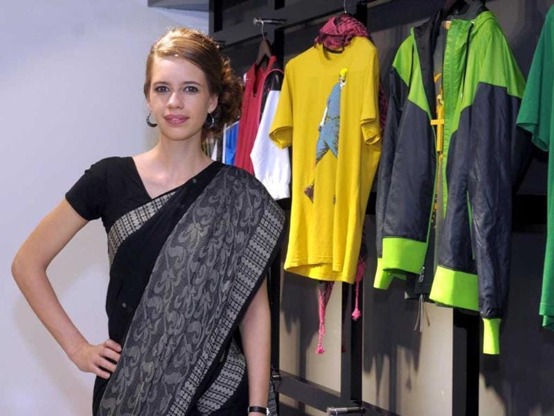 Bollywood actress Kalki Koechlin was spotted in a sari at the recent launch of Myntra.com Star N Syle fashion store in Bangalore. (UNI Photo)