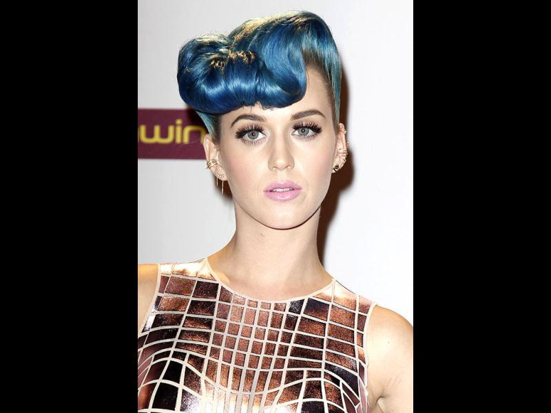 Katy's blue quiff is quite creative.
