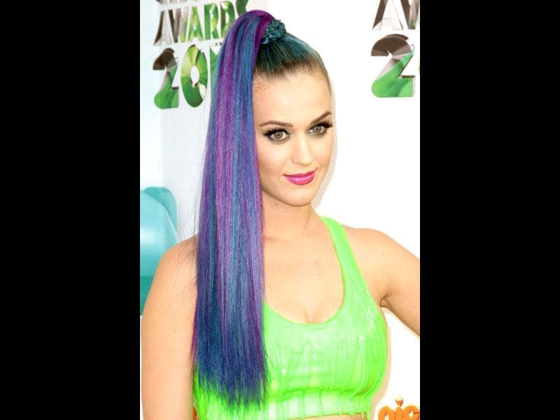 Only Katy Perry can pull off a poker straight rainbow ponytail.