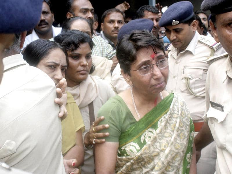 Former minister in Gujarat chief minister Narendra Modi's government Mayaben Kodnani being taken to Sabarmati Central Jail after she was convicted by a Special court in the Naroda Patia Case 2002, in Ahmedabad. Agencies