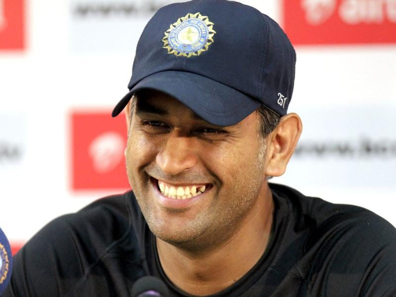 MS Dhoni addresses a press conference ahead of the second India-New Zealand Test match in Bangalore. HT/Gurpreet Singh