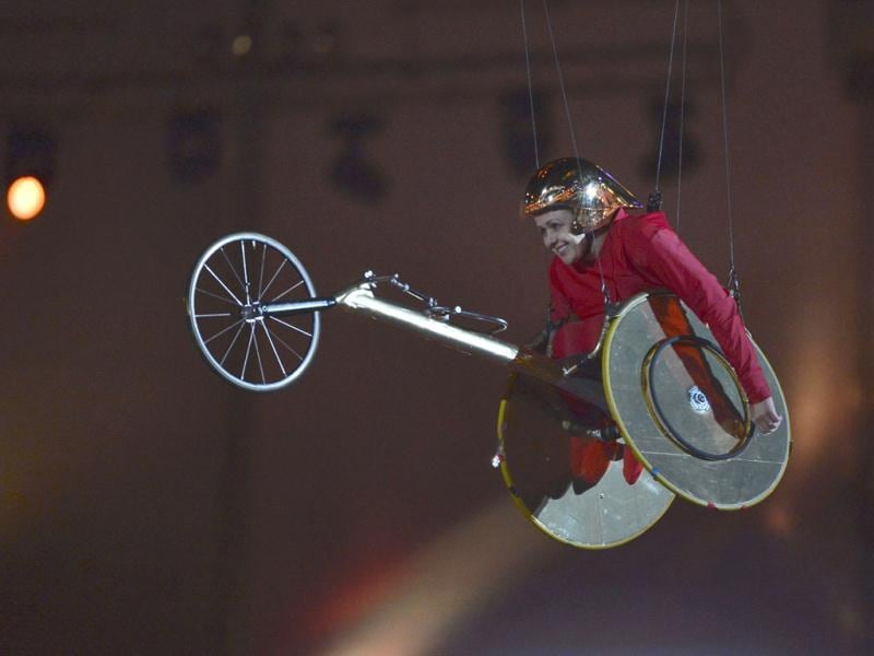 Former Paralympic athlete, Tanni Grey-Thompson, is lifted into the air in the Olympic Stadium during the opening ceremony of the London 2012 Paralympic Games. Reuters Photo